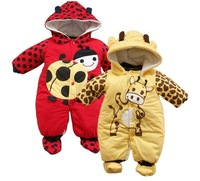 Free shipping 2013 cute cartoon animal 3Pcs/Lot cotton-padded baby romper ladybug and cows warm body suit autumn winter clothing