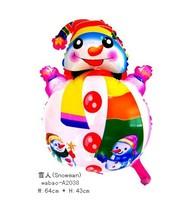 Free Shipping Wholesale 50Pcs/Lot 26 inches Christmas Balloon Toy, Snowman Design Aluminum Foil Latex Balloon