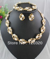fashionable designer pearl jewelry sets for ladies gold plated jewelry sets HE#1