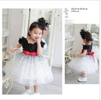 girls' dresses summer chiffon ball gown baby Red bowknot white party princess dress children clothing