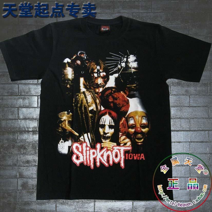 homens negros curto t- camisa 100 % algodão moda ilhó banda slipknot(China (Mainland))