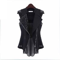 Free shipping 2013 new arrival fashion elegant suit vest women's plus size chiffon shirt medium-long female shirt summer vest