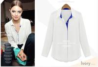 New Arrivel Free Shipping Europea Style Blouses Longsleeve Colors Matching Casual  Women Chiffon Shirts 2013070905