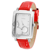 Korea Fashion Ladies Wrist Watches Julius Brand Luxury Crystal Cartoon Quartz Jelly Watch Leather Strap For Women Girls Students