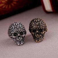 Free shipping Fashion popular j169 royal vintage carved skull ring