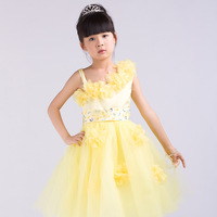 Yellow Retail 2013 New Light Applique tulle Pageant  Puffy Formal Flower Girl dresses Bow Prom party Sale Freeshipping