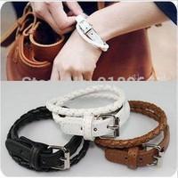 D083 Fashion Jewelry Punk Women Men Weave PU leather belt buckle Charm Bracelets