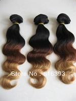 AAAAA New Style Weft, ombre color #1bT33T27, Body Wave, Peruvian Virgin Hair Body Weav Weft