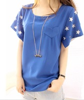 Fashion women's missluo2013 sleeves pattern chiffon shirt chiffon t-shirt basic shirt camisas top women