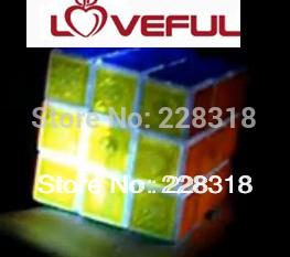 New Glaring LED Light Novel Brain Teaser Magic Cube IQ Puzzle Toy---Loveful