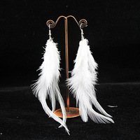 Free Shipping Bride earring wedding accessories elegant long feather earrings classic white black with diamond  earrings
