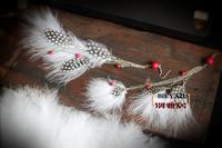 Free Shipping Yaju bohemia turkey white feather stone pine silver earrings