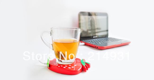 Wholesale - 240pcs lot Strawberry Shaped USB Cup/Mug Coffee Tea Warmer, 3 Colors Assorted, Free Shipping(China (Mainland))