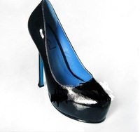 Free shipping 2013 Leather Black patent leather lined with blue high heel shoes, women's singles