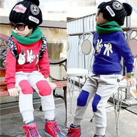 Hot Sale kid clothing sets male female child clothing set cotton fleece sweatshirt +harem pants 2pcs sports suit cartoon suits