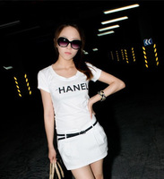 hot selling women's logo short sleeve t-shirt shirts cotton tees tops white top quality free shipping
