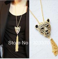 Mixed 3pcs color rhinestone vintage leopard head tassel long necklace design necklace