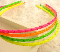 Punk neon color knitted leather hair bands f033