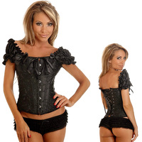 Strapless lace corset with underwire cups, front busk closure, lace-up back and matching thong -879