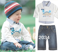 Brand new denim suit for boys children's spring sets long sleeve t-shirt and jean pants kids fashion clothing set 1set in retail