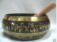 "Diameter 4.-4.5"" Inch Bowl Bronze Tibetan Jewelry Handmade GLORIOUS OLD YOGA RARE TIBETAN SINGING BOWL"
