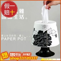 Lamp style tissue roll paper tube box home decoration black peony 250g