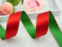 Double Face Satin Ribbon Packing 33yard/lot Green and Red Reversible Ribbon,Free Shipping