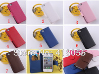 Free shipping 30pcs/lot New Fashion ID Card PU Flip Leather Wallet Cover Shell Skin Case For  iPhone 5 5G 7 Colors