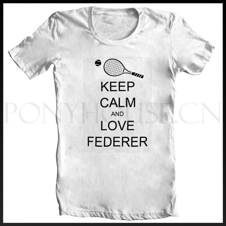 KEEP-CALM-AND-LOVE-FEDERER Roger Federer T-SHIRT T-shirt cotton Lycra top new arrival Fashion Brand t shirt for men 2013 summer(China (Mainland))