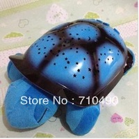 Free Shipping Tortoise Shadow Lamp With Music Sleep Starry Sky Lamp Creative Baby   Dolls Stuffed Plush Toys 4 color  6 pcs/lots