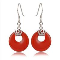 100% Guaranteed Genuine 925 Sterling Silver Drop Earring With Red Agate Eardrop Earrings YH1034