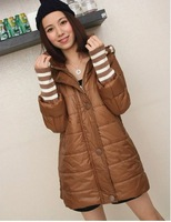 2013  Women's New Free Shipping Vogue Splicing Stripe Cuff Hood Warm Coat Deep Khaki /Army Green QM13062812