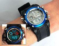 Aosheng ohsen waterproof multifunctional watches electronic male table PU watchband double movement dual display watch