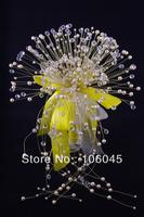 HK Post Free shipping 2013 acrylic crystal girl flower wedding bouquet bridal faux pearl teardrop stunning bead artificial