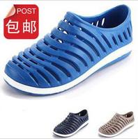 Summer male bird nest sandals stripe cutout casual sports flat hole shoes sandals