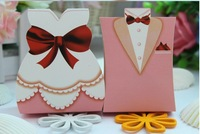 Hot sale 100 pcs new arrive Europe style bride and groom Wedding candy box,gift box ,romote wedding favor box Free Shipping