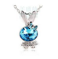 Free shipping 2013 new arrivals lovely rabbit big blue zircon platinum plated ladies`pendant necklaces jewelry 1pcs/lot