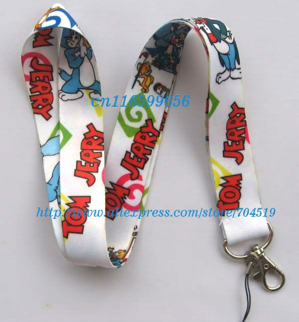 Free shipping Tom and Jerry Lanyard/ MP3/4 cell phone/ keychains /Neck Strap Lanyard wholesale 20pcs(China (Mainland))