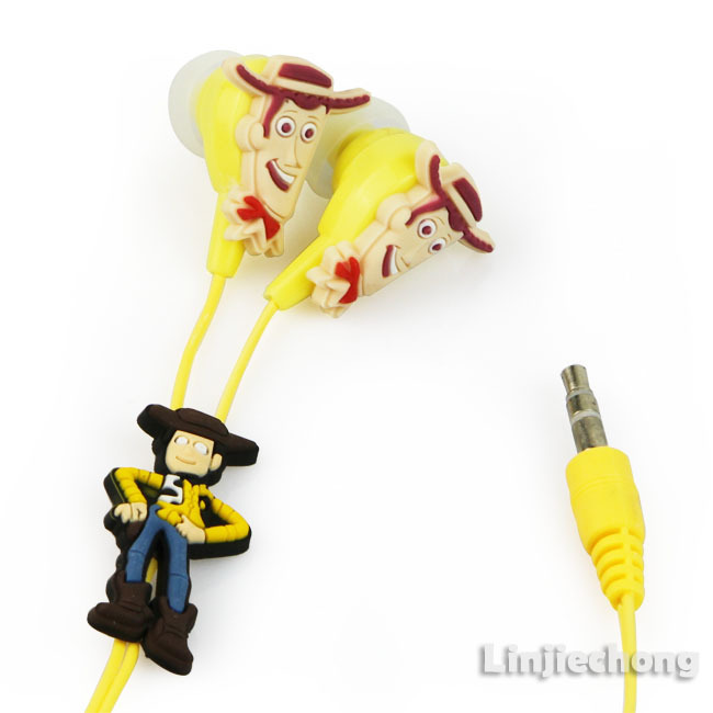 5pcs/Lot Woody Toy Boys Cute Cartoon Character Funny Kids Cool Headphones Earphone Earbuds 3.5mm In-Ear Free Shipping E66(China (Mainland))