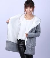 2014 South Korean female hoodie zipper jacket warm coat 2 colors black gray sweater factory direct