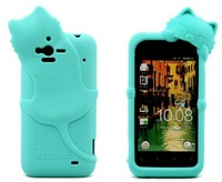 Cute Cat Style Silicone Soft cover case for HTC Rhyme G20 + 1 piece Cat Earphone plug Free Shipping