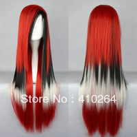 """$wholesale_jewelry_wig$ free shipping 32"""" Long Charm Lolita Color Mixed Straight Anime Cosplay wig red black white wigs"""