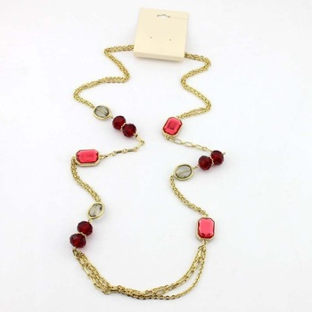 2013 fashion Korean style  simple women fashion big strass  long necklace sweater chain wholesale  12 pcs /lot