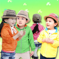 New 2013 autumn boy girls long-sleeve trench cardigan  kids outerwear children's clothing 100-140 5pcs/lot
