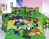 boys ben10 ben 10 green kid duvet cover sheet pillowslips sets single / twin children's cartoon bedding sets gift bed in a bag