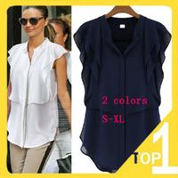 2014 Plus size xl Summer Blusas Femininas Work wear Shirt Chiffon Blouse Woman Blouses sleeveless Women New Casual Tops 814YM