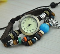 Free Shipping~2013 New Puck Lady Vintage Charm Tree leaf Bracelet Designer Women Fashion Genuine Cow Leather Quartz Watch~W028
