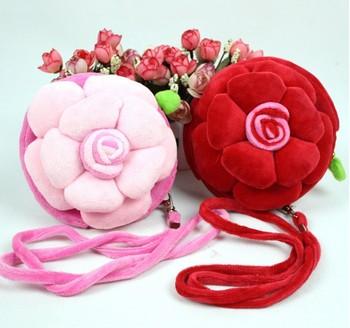 Free shipping Wholesale Promotion Girls Kids Korean bags Baby 3D Rose bags Round School Bag purse Children  Lot 12pcs/lot