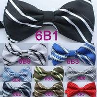 Yibei Coachella Ties Microfiber Classic Stripes Adjustable Fashion Men's Bowtie Adults Tuxedo Bow tie Unisex butterflys Pre-Tied