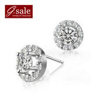 GS ED-45 Free shipping 2014 new arrival luxury crystal earrings shiny zircon & 925 stamp silver ladies stud earrings jewelry